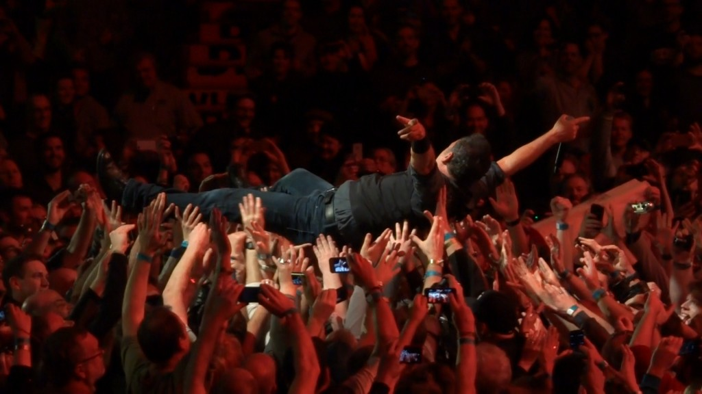 Bruce Springsteen crowd surfing at Rogers Arena in Vancouver, BC