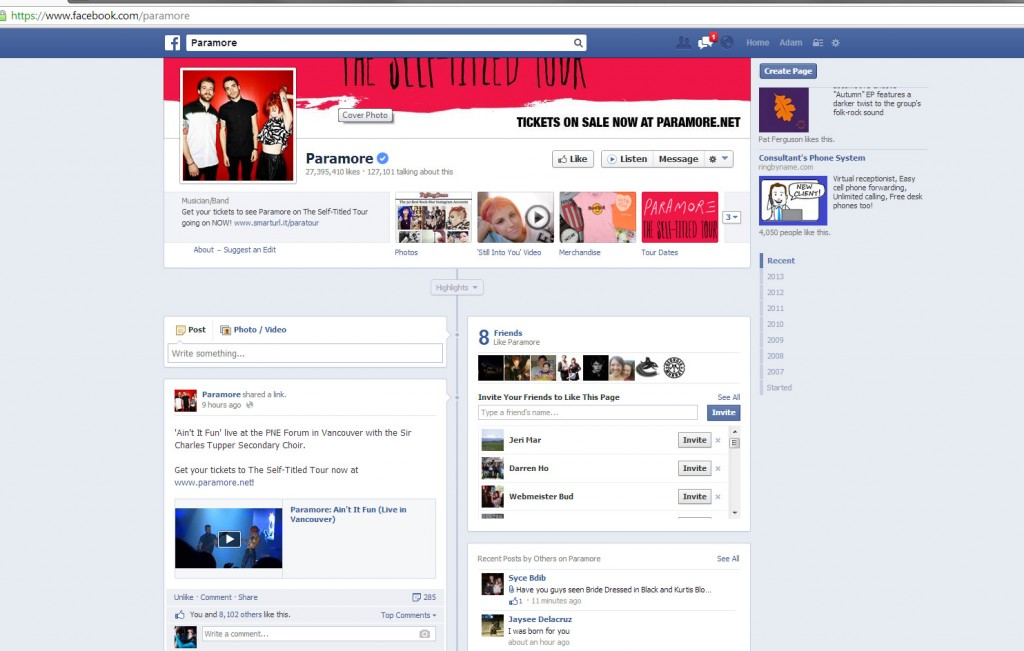 Screengrab of Paramore's Facebook page October 17, 2013 featuring my video